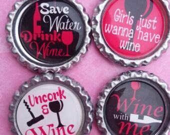 Wine Bottle Cap Magnets - Set Of 4
