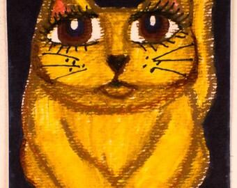 Cat Print, Yellow Cat Art, Black And Yellow, Folk Art Cat, Cat Decor, Kids Wall Art, Girls Room Decor, Charlie The Cat by Paula DiLeo 11515