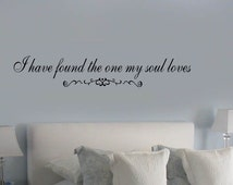I found the One My Soul Loves Elegant Couples Wall Decal  Vinyl Decals Wedding gifts small medium large sizes