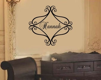 """Elegant  Frame Personalized Name Wall Decal Baby Girl Nursery Vinyl Monogram Large 22""""H x 22""""W  More sizes Available"""