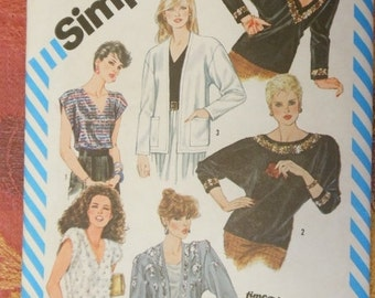 1981 Simplicity Uncut Printed Pattern 6202 Size O (12 - 14  16)  Misses Pullover Tops and Cardigan -- A Time Saver Stretch Knit Pattern
