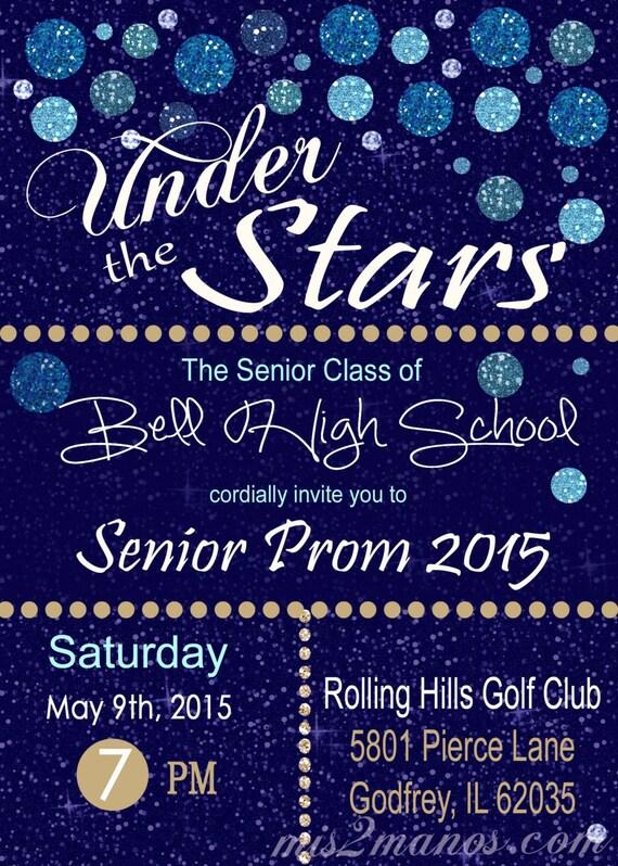 Under The Stars Invitation Graduation Invitation or Prom