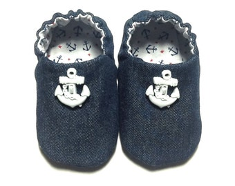 Nautical Baby Boy Shoes, 0-6 mos. Baby Booties, Denim Baby Shoes, Soft Sole Shoes, Boy Crib Shoes, Slip on Baby Shoes, Baby Boy Gift