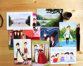 Set of all our Pride and Prejudice postcards, illustrated scenes from the Jane Austen novel  (set of 9)