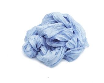 blue silk scarf - Aquamarine - grey blue silk scarf