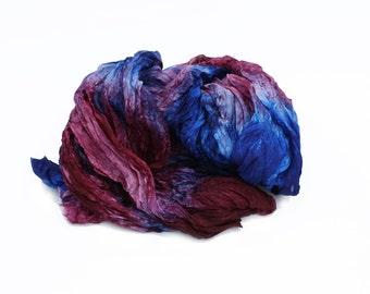 blue silk scarf - Roxanne  -  burgundy, blue silk scarf.