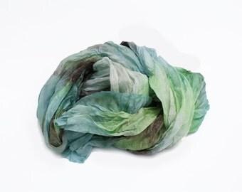 green silk scarf - Sea Glass -  light green, light blue, brown, cream silk scarf.