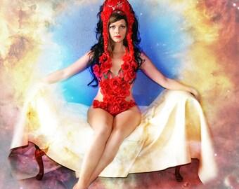Red,ROSE,Bodysuit,Monokini Hat,costume,SET,headpiece,Editorial,headdress, dance