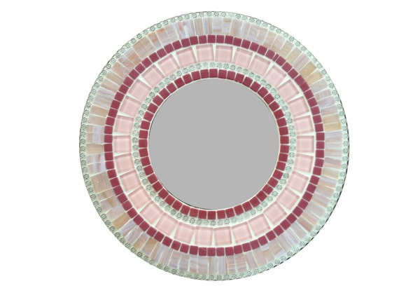 Round Mosaic Wall Decor : Pink round mosaic wall mirror nursery decor accent