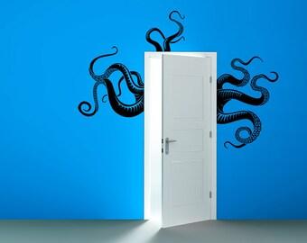 Octopus Tentacles Removable Vinyl Wall Art sea monster kraken squid bathroom doorway shower bathtub wall sticker decal