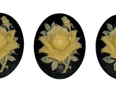 3 pieces vintage victorian ivory rose on black Cameo Cabochon 40x30 mm resin silhouette set