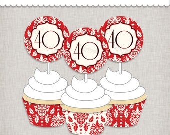 40th Anniversary Cupcake Decorations - DIY INSTANT DOWNLOAD digital file for anniversary celebration or 40th birthday