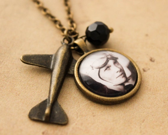 Steampunk Amelia Earhart Necklace - Aviation Plane Women Cabochon Pendant