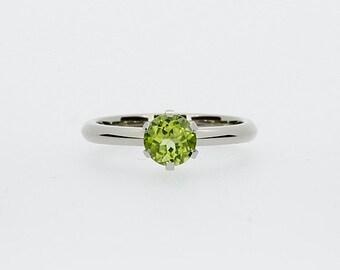 Peridot engagement ring, white gold, yellow gold, solitaire, green engagement ring, peridot wedding, thin engagement, custom, crown setting