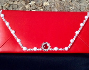 Wallet Womens Swarovski Crystal Pearl Red Clutch Custom Billfold Change Purse iPhone Case Fashion Envelope Cardholder by Glass Slippers Gift