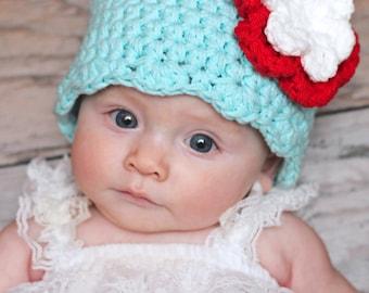 Newborn Baby Girl Hat Newborn Baby Hat Aqua Blue Red White Crochet Flower Hat Flapper Beanie Flapper Hat Newborn Photography Prop Spring