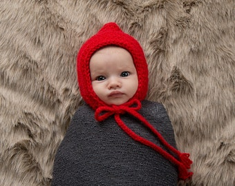 Newborn Baby Hat Newborn Baby Girl Hat Newborn Photography Prop Newborn Photo Prop Red Pixie Elf Baby Hat Gnome Little Red Riding Hood
