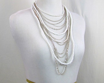 Vintage Necklace | 1960s | Multistrand Silver & White Necklace