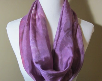 """Hand dyed pink and lavender narrow silk infinity scarf - """"Garden Roses"""""""