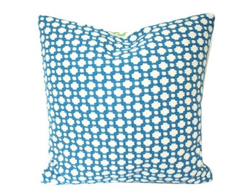 Designer Schumacher Betwixt Pillow Cover in Water Blue with Ivory Piping