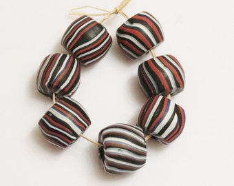 African Trade Beads Made in India , Red Black White Glass Beads, 7 Ethnic Beads (F83)