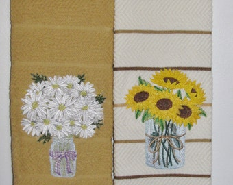 "Embroidered ""Daisy & Sunflower"" Kitchen Towel Set"