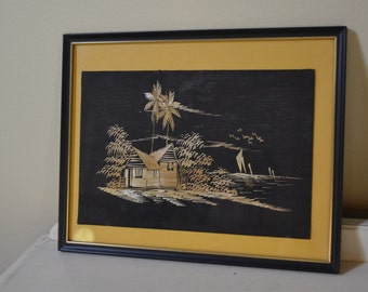 Vintage Japanese Straw Art Picture Home Decor Wall Hanging