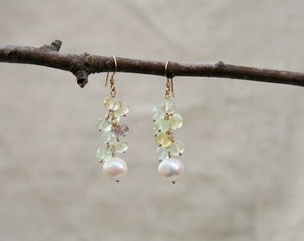 Laurel Earrings: Elegant round white freshwater pearl and faceted fluorite & prehnite gemstone earrings on 14kt gold fill