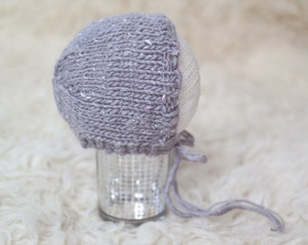 Newborn Knit Bonnet, Grey White Tweed Textured Hat, Photography Prop Baby Boy **READY TO SHIP** #319