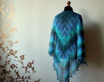 Hand Knit wool woman shawl - aqua colors - blue, green