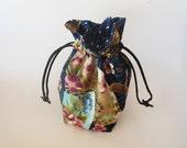 Drawstring Makeup Bag - Navy & Koi Fish Design - Japanese Fabric - Asian Fabric - Makeup Pouch - Cosmetic Bag - Adorable Little Jewelry Bag