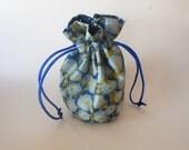 Drawstring Makeup Bag - Navy & Blue Flower Design - Japanese Fabric - Asian Fabric - Makeup Pouch - Cosmetic Bag - Adorable Jewelry Bag