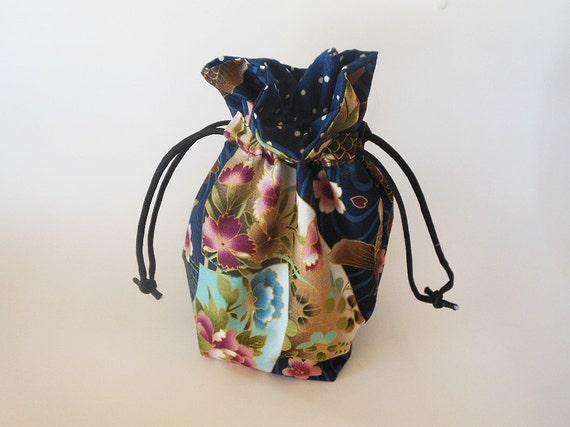 Drawstring makeup bag navy koi fish design by for Koi fish purse