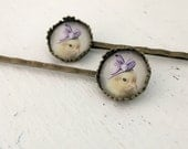 Chicken Bobby Pin Set In A Purple Ribboned Hat Hair Pin Chicks in Hats (2)