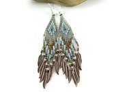 Native American beaded earrings, ethnic earrings, boho earrings, ethnic earrings, dangle earrings, earthy colors, Ice and Soil