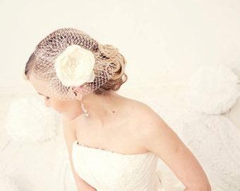 Ivory birdcage veil, Bridal birdcage veil,  Flower birdcage fascinator, Ivory birdcage veil, Wedding veil, Bridal head piece