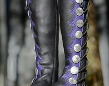 Plum Fairy Moccasin Boots - Black Leather Knee High Boots with Purple Shark Tooth Trim - Custom Moccasin Boots with Celtic Knot Buttons