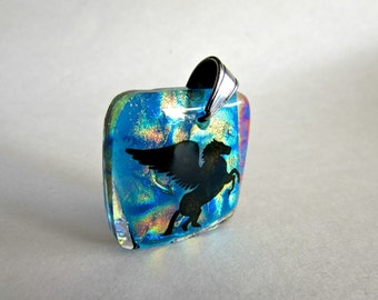 Dichroic Glass Necklace Pendant - Pegasus