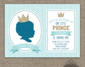 Little Prince Custom Silhouette Invitation AND Poster - Printable - Baby Boy First Birthday - Gold Glitter Crown - Herringbone Chevron Blue