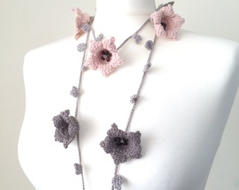 Flower Wrap Scarf, Pastel Crochet Necklace, Oya Beaded Lariat, Pink Gray Large Lily Flowers, Skinny Long Scarf, Christmas Gift, ReddApple