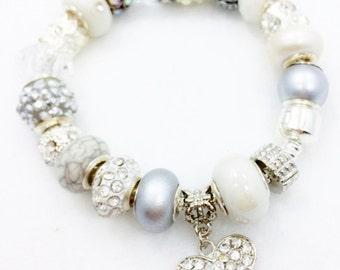 Crystal White European Style Charm Bracelet