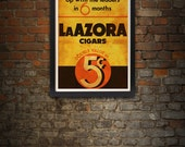 Vintage LaAzora Cigar Giclee Art Print 17 x 22