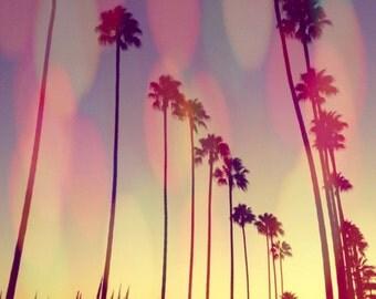 Los Angeles Palm Trees  L.A. Sunset Photograph Print. Bokeh. Pastels. Vintage. Home Decor. Vintage. Square Photography  Wall Art Decor.