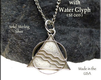 Sterling Silver Sobriety Necklace, AA Pendant with Water Glyph of Transformation on Chain, .925 Pagan AA Recovery Necklace - SE-2455