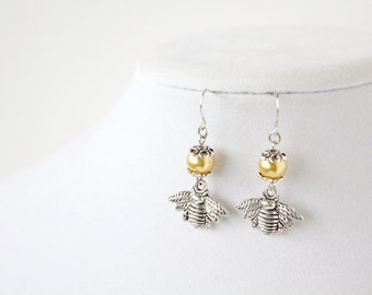 Bee Earrings - Yellow Pearl - Bee Charm - Great Gift