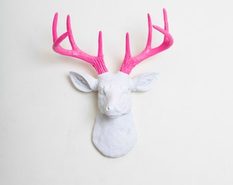 Faux Taxidermy - The MINI Boris - White W/ Pink Antlers Resin Deer Head- Stag Resin White Faux Taxidermy
