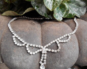 Vintage rhinestone drop necklace, choker style, prong set faceted rhinestones, pear shaped drop, formal, prom, bridal, 1950's era