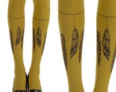 Mustard feather print tights l Tatto Tights | Free Shipping