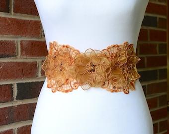 Fall Bridal Sash, Autumn Bridal Satin Sash. Beaded Lace Sash. Bridal Applique for Dress. Orange Bridal Sash.