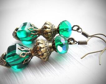 30% SALE! Teal Earrings Victorian Earrings Green Earrings Vintage Style Jewelry Antique Brass